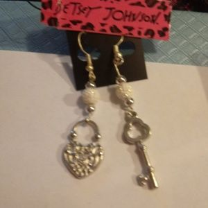 Betsey Johnson Heart Lock & Key Earrings